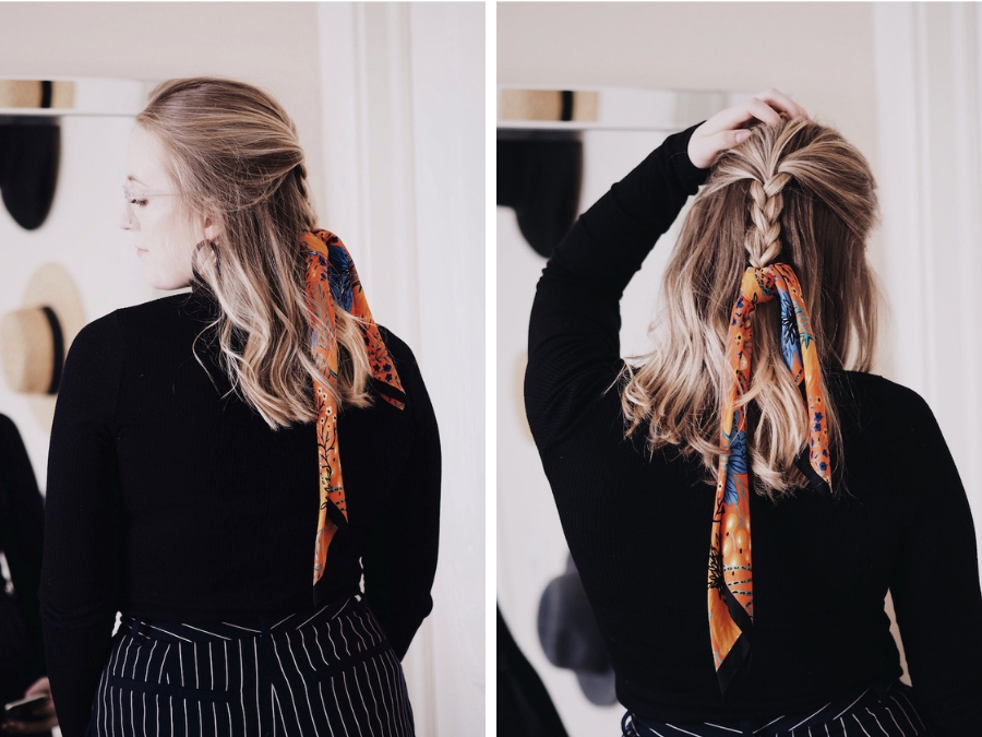 9c194a8803e0d Way 9 of 22: Half Up, Half Down with a Braid. ways to wear a hair scarf  neckerchief bandana